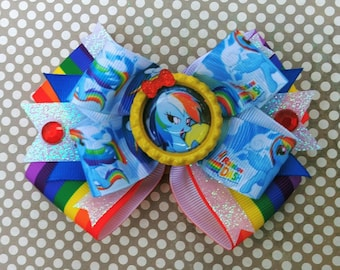 My Little Pony Rainbow Dash Snap Stack Hair Bow Headband Glitter Friendship Equestria