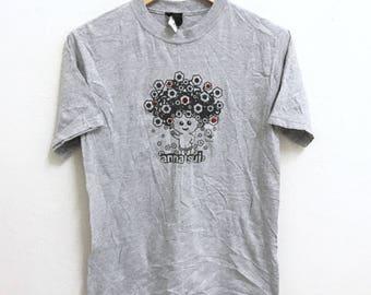 RARE!!! ANNA SUI Designer Fashion Big Logo Crew Neck Grey Colour T-Shirts S Size