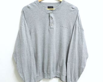 RARE!!! CELINE Small Logo Crew Neck Button Down Grey Colour Sweatshirts Hip Hop Swag L Size