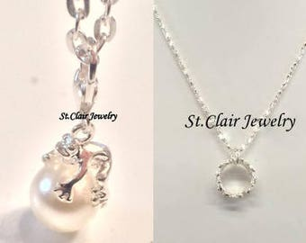 Frog King or Crown Necklace,Frog on a Pearl, Crown Necklace, Princess Jewelry, Crown  Pendant, Princess Crown,