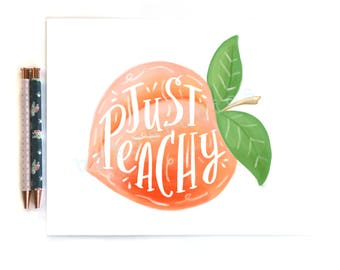 Fruit Peach Quote 'Just Peachy' Wall Art Print Home Decor Illustration 8 x 10