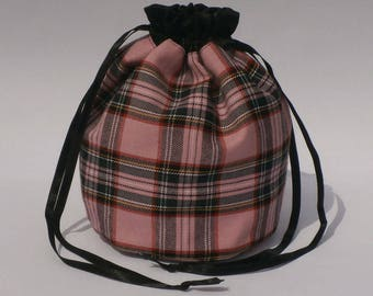 Pink Tartan Dolly Bag Purse Evening Handbag With Black Satin Ribbon