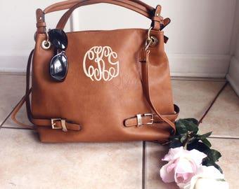 Monogram Large Tote Buckle Should bag, Personalized handbag, Monogrammed purse, Camel purse. Brown monogram bag tote bag purse Brown Handbag