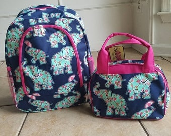Pink and Navy Rosey Elephant backpack and lunch bag set