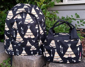 Monogram Backpack and Lunch bag set teepees and arrows