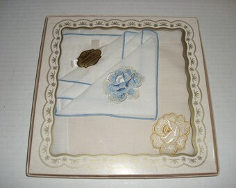 Boxed Ladies Handkerchiefs.  All Cotton.  Swiss Style Handkerchiefs.