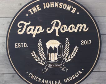 Tap Room Personalized Sign, Wall Art, Wood Signs, Brewery Sign, Bar Signs, Rustic, Vintage, Personalized Signs, Beer Decor, Man Cave, Bar