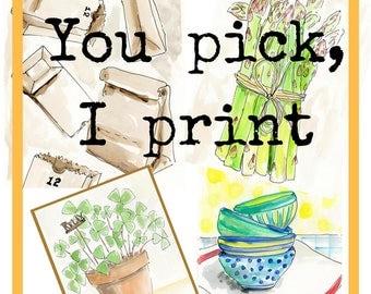 You Pick Watercolor 8x10, 11x14, Archival Print, Print,  Watercolour, Art