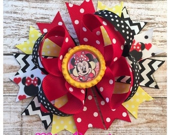 Red and Yellow Minnie Hair Bow, Minnie Mouse Hair Bow , Minnie Hair Bow, Minnie Hair Clip, Disney Hair Bow, Ready to ship