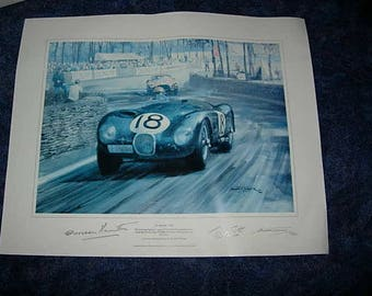 le mans 1953 print, signed by the winning drivers