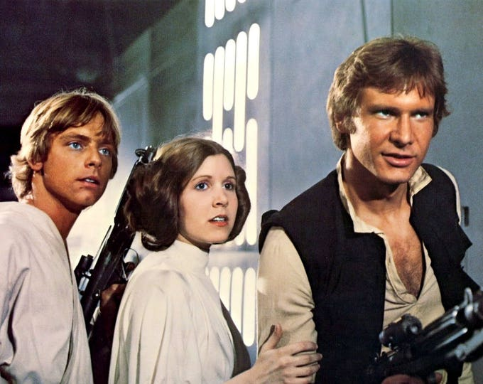 """Mark Hamill, Carrie Fisher and Harrison Ford in the Film """"Star Wars"""" - 5X7 or 8X10 Publicity Photo (ZY-318)"""