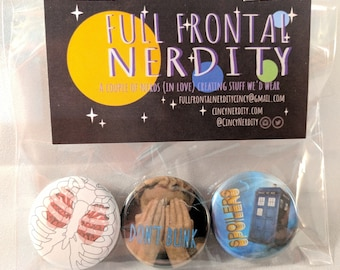 Doctor Who pinback button set
