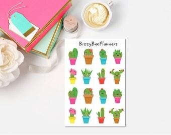 Happy Kawaii Cactus Planner Stickers