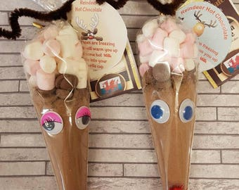 Mr & Mrs reindeer hot chocolate cones