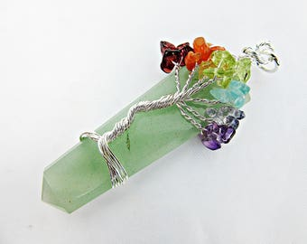 Pendant, Aventurine, Necklace, Wire, Chakra, Chakra Stones, Chakra Colors, Protection Stone, Energy Stone, Jewelry, Adorable