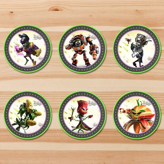 Plants Vs Zombies Garden Warfare Cupcake Toppers - Chalkboard - Pvz Toppers - PVZ Party - PVZ Printables - PVZ Birthday Party Favors