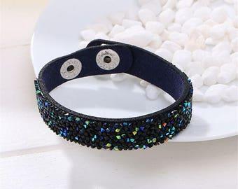 Navy Blue and Black Rhinestone Chip Vegan Bracelet - FREE SHIPPING - Summer Festival Jewelry - Boho Hippie Cuff Bracelet