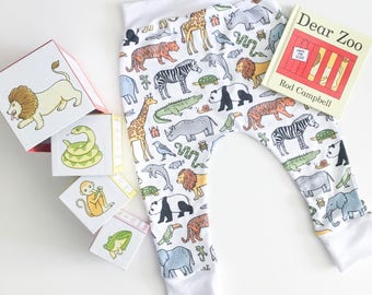 Zoo Animal leggings with white cuffs. Jungle tights, zoo animal pants.
