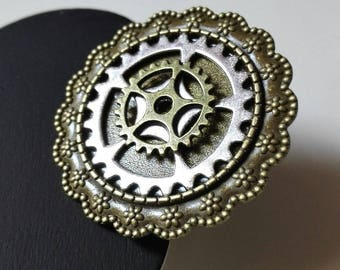 "Ring Game of Thrones ring ""masters of time"" steampunk gears silver and antique bronze vintage geek gift idea"