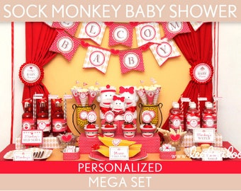 Sock Monkey Baby Shower Package Collection Set Mega Personalized Printable // Sock Monkey - S2Pz2