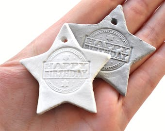 SALE Happy Birthday gift tags, star gift tag, clay birthday tags, Bday gift tags, starshaped tag, birthday tag, clay tags, birthday wrapping