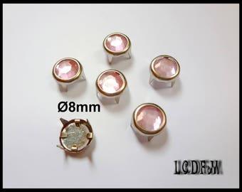 * ¤ 6 PCs claw round Pale pink - Ø 8mm rhinestones ¤ * #D39
