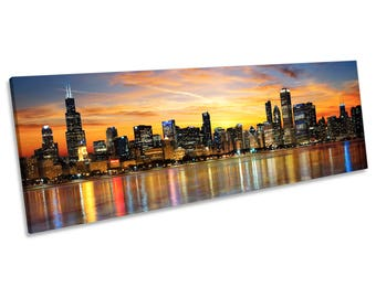 Chicago Illinois Sunset Skyline CANVAS WALL ART Panoramic Framed Print