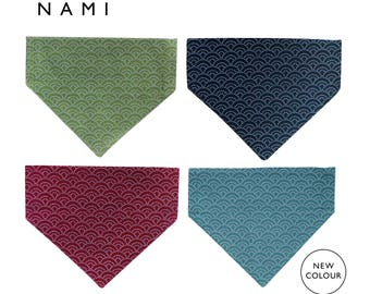 Pet Bandana, Nami (wave) pattern, Japanese cotton fabric, dog & cat bandanas