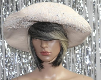 1970's  Michael Howard Wool Lace decorative Design Church/Derby Hat