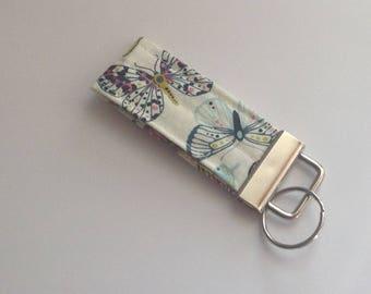 Mini keychain key fob key ring  fabric keychain women's girls accessories-  butterfly print fabric