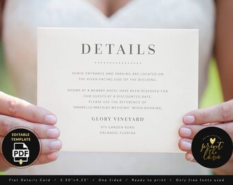 Wedding Details Card Template, Wedding Details Template, Wedding Information Card, Wedding Info Card Template, Wedding PDF (Anabelle)