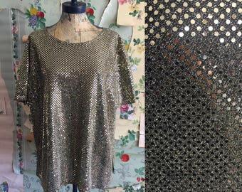 1990s Plus Size Vintage Oversized Sequin Gold Glitter Top. XL/XXL. Bling, disco ball top, Erena.