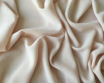 Pale pink wool crepe Haute Couture - 45cm x 120cm