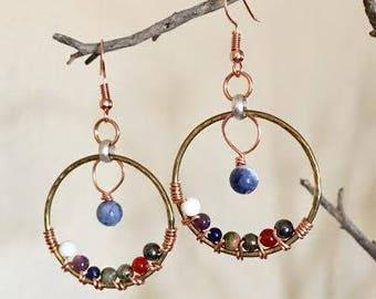 Chakra Earrings Reiki Earrings Boho Earrings Bohemian Earrings Chakra Jewelry Reiki Jewelry Energy Earrings Chakra Stone earrings Crystal