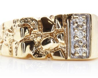 Men's Diamond Ring: 14k Yellow Gold Nugget Ring with Diamonds and History | U550