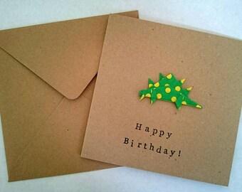 Origami Dinosaur Birthday Cards, handmade dinosaur card, animal lovers, dinosaur lovers, baby