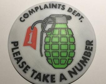 3D Printed 'Complaints Dept' Coaster / Plaque