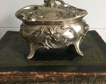 Art Nouveau Floral Design Silverplated Jewelry Box