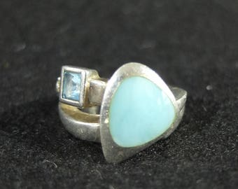 Vintage Sterling Silver, Larimar and Blue and White Topaz Ring