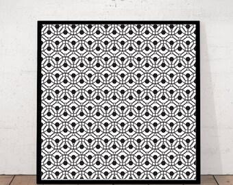 Geometric Print, Black and White, Geometric Art, Geometric Wall Art, Circle Abstract Print, Abstract Art, Black and White, Modern Art