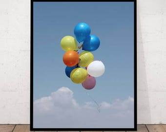 Balloons Print, Cloud Photography, Clouds Decor, Clouds Wall Art, Clouds Photography, Sky, Blue Photography, Balloons, Balloons Photography