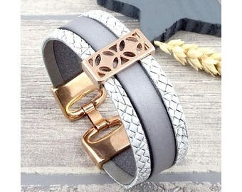 Bracelet grey & rose gold