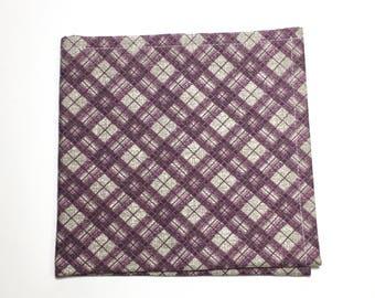 Mens Pocket Square, Purple Plaid Pattern, wedding accessory, mens handkerchief, Suit Accessory, Plaid Design, Holiday Gift, menswear gift