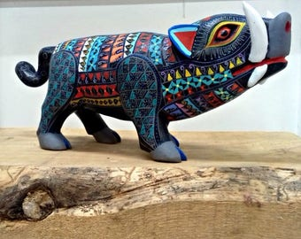 Super SALE Oaxacan Alebrije havalina wild pig wood sculpture carving Mexican folk art animal unique hand made in Mexico