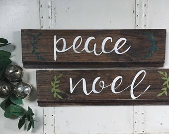 "Hand Painted ""Peace"" ""Noel"" Shiplap Sign / Winter Decor / Christmas Decor / Winter Decorations / Christmas Sign / Shiplap Wooden Sign"