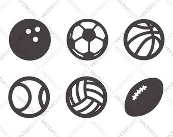 Sports Balls SVG Icon Pack. Football, Basketball, Soccer, Volleyball, etc for Scrapbooking, Cricut, and Silhouette. Digital Download