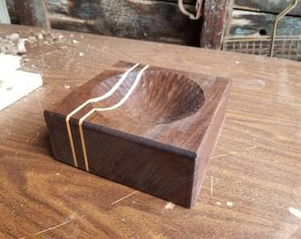 Hand Carved Walnut Ashtray