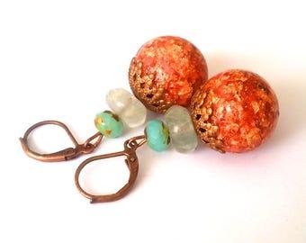 Red Green earrings, fluorite, Resinohrschmuck, green beads, Hawai'i, unique earrings, beads, Resinperlen, copper