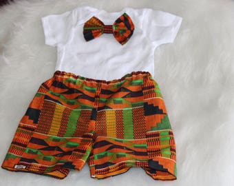 African shorts/African babyboy clothes/baby set/Newborn clothes/African clothing/bowtie onesie/Kente Fabric/shorties/