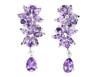 Floral Earrings, Botanical Earrings, Flower Earrings, Amethyst Earrings, Gemstone Earrings, February Birthstone Purple Earrings Gift for her